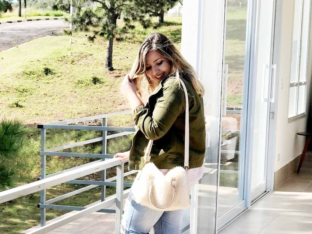 Look do Dia Jaqueta Bomber Militar