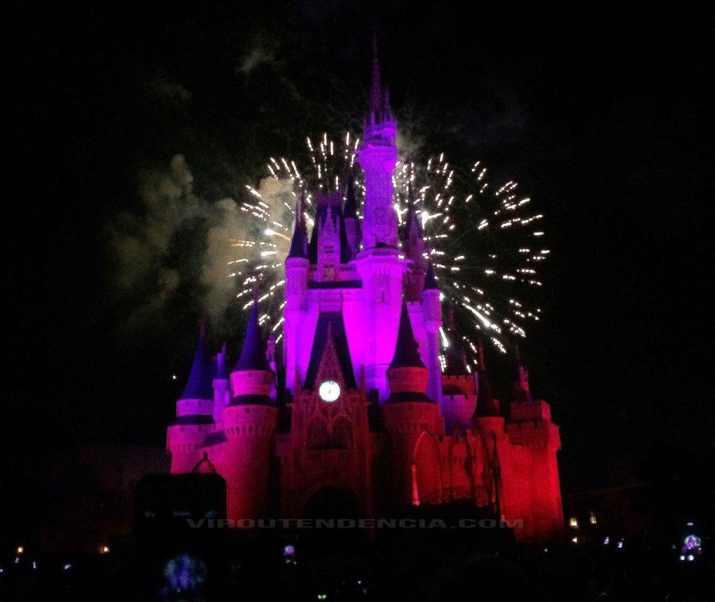 Show Queima de Fogos Castelo na Disney-Parque Magic Kingdom