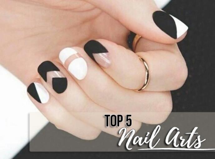 Unhas Preto e Branco Nail Art
