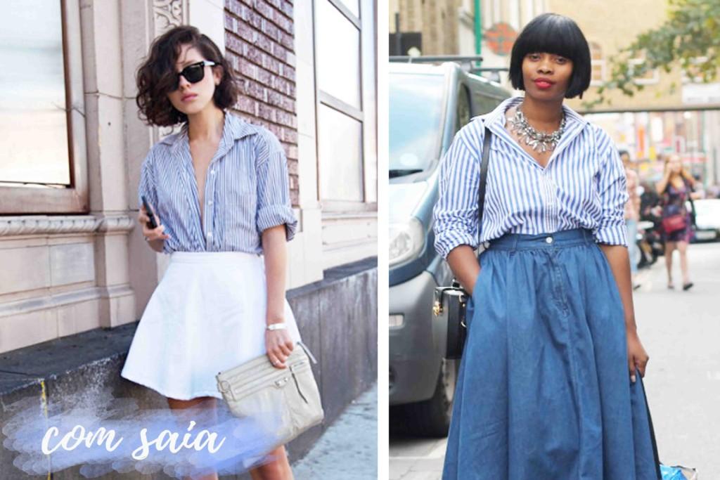 Como Usar Camisa Listrada de Azul e Branco Looks