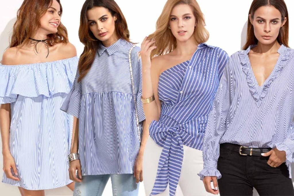 Camisa Listrado Azul e Branco Comprar