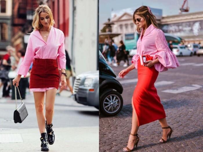 Looks em rosa e vermelho