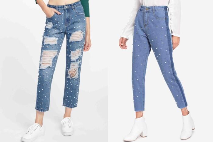 Calça Jeans com Pérolas