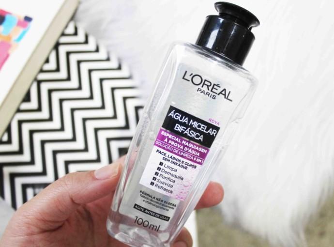 Resenha L'Oréal Água Micelar Bifásica - solução de limpeza facial 5 em 1