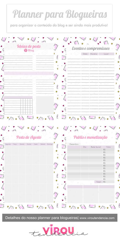 Planner para Blogueiras Download - Planners e Agendas para Download 2019 e 2020