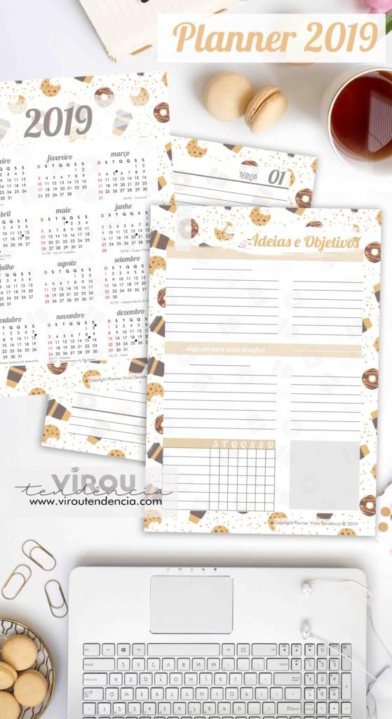 Planner 2019 para Imprimir - Planeje seu ano e organize seu dia a dia com nossos printables de planner 2019 para download.