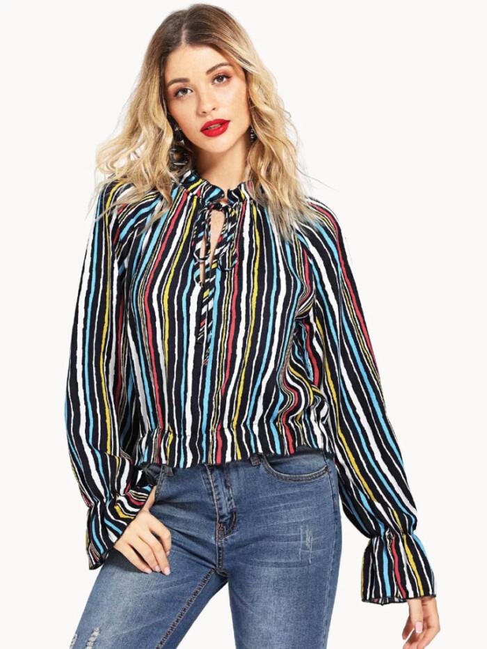 blusas para combinar com calça jeans - camisa listrada + jeans