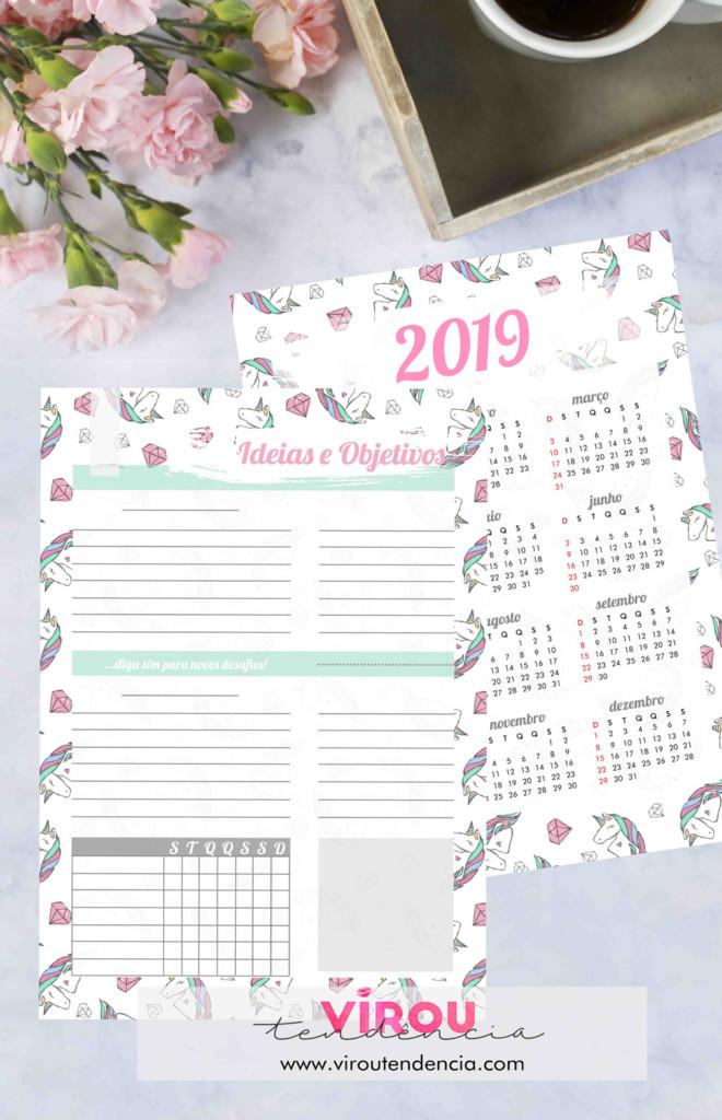 Planner 2019 - Unicórnios