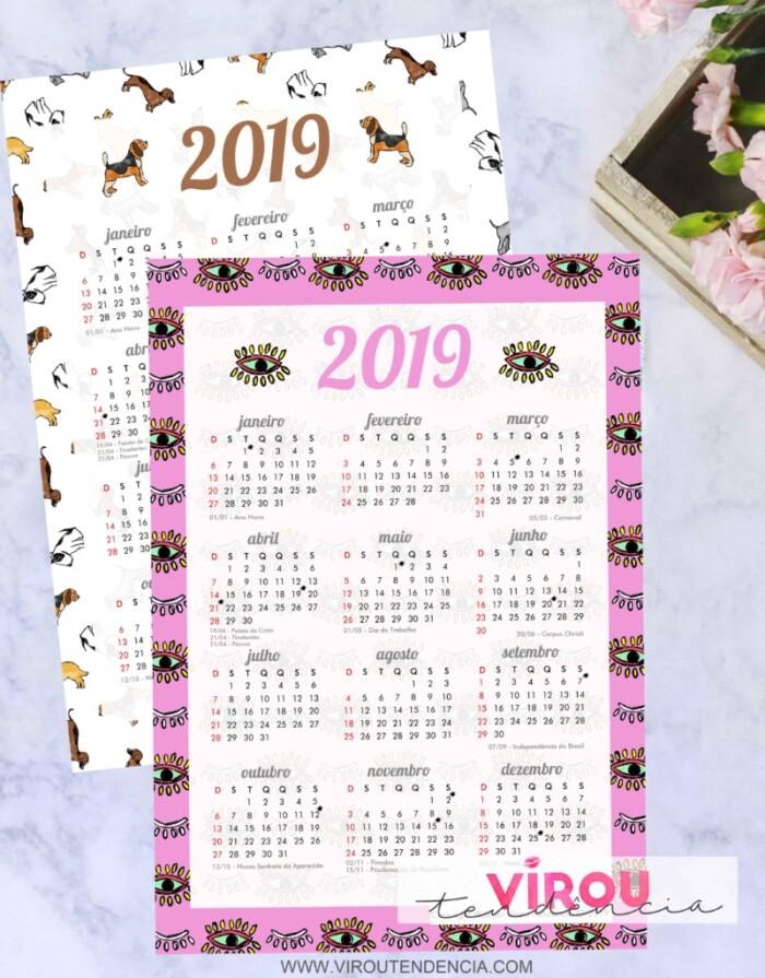 Calendário 2019 Printable para Download - tags, adesivos, planner de mesa, calendário e to do list para imprimir.