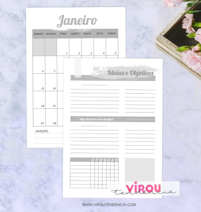 Planner 2019 - Preto e Branco