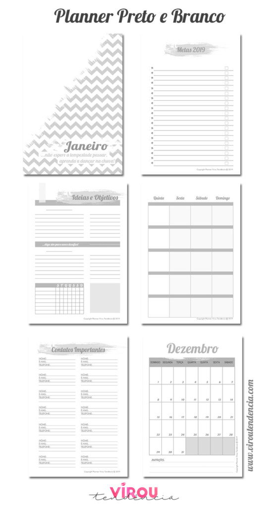 Planner Preto e Branco para Imprimir 2019
